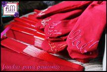 Fundas para Pericones Bordadas a mano / Fundas para protejer nuestros pericones por mas tiempo. Bordadas a mano con frases flamencas y cinta de seda.  A pedido del color que quieras