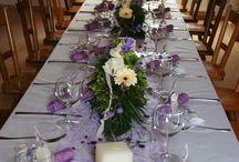 Tischdekoration lila violett flieder