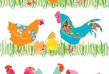 Art Theme | Easter / Easter art prints and posters: Bunny rabbits, chickens, eggs and spring florals