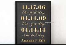 ~ Prints and printables ~ Relationship timeline signs gold & chalkboard