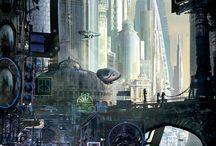 Dystopic, cyberpunk, futuristic