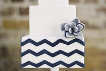 Chevron for Wedding Cake and Decor / Chevron can add a lot of pizzazz to your wedding! Use it for your decor, centerpieces, and more! The trick is to not use too much. One or at most, two, aspects of your wedding is plenty!