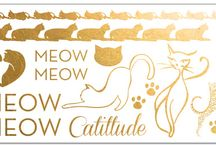 Cat Fashion Tattoos / Gold Temporary Tattoos for lovers of felines and fashion