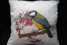 Stella Velka/ Hand painted silk pillows covers