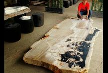 Fossil Wood Table / The world's most amazingly beautiful fossil wood tables for home furniture decoration.
