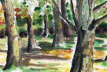 Landscape sketches / Landscape schetches in pen, watercolour and pencil.