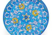 Turquoise Flowers Base Plate / This Designer plate is a perfect buy for any home and is the best option to entertain your guests in style.