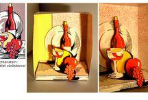 Diorama, kirakat makett . Diorama, window display model / Válogatás dekoratőr képzésünkre járó hallgatók munkáiból.  Works of students in Decoration Department.