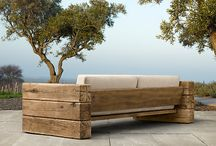 Wood outside seating