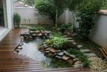 Outdoor pond landscaping