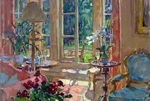 Interiors paintings of