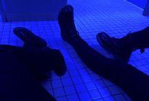 Dark blue aesthetic neon