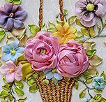 bordado con cinta de seda