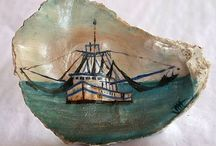 Oyster shells painted