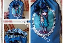 Mochilas de tela / Gran variedad de mochilas de loneta de 40x 50 cm aproximadamente. Con bolsillo y forro interior.