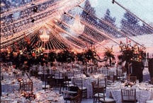 outdoor wedding tents / clear ceiling to let the stars in, ribbons and chandeliers, paper lanterns