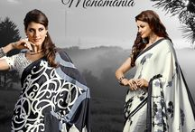 Monomania / Be one with Yourself !! Presenting #monochrome #sarees from #BlueKurta. With softness of #crepe and bold prints, the colors are rendered unnecessary. Own from more than 20 designs from http://www.bluekurta.com/index.php?route=product%2Fsearch&filter_name=WSAc611040