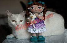 amigrumi kedili kız bebek