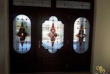 barokk ólomüveg ajtó ablak betét