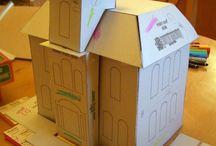 modèle maison carton, en pain d'épice, village de Noël