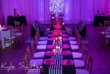 Styled Photo Shoot by Event Loft PA Featuring Gala Cloths / Dramatic styled photo shoot by Event Loft PA, Eilena Mercier-Ehmann, at The Brossman Center in Philadelphia, featuring Gala Cloths' Bold Black & White Stripe Runner on table tops.
