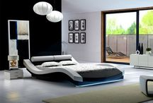 Modern Contemporary Leather Bed