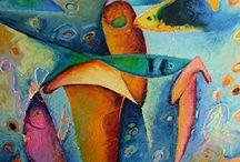 Underwater Sea Life Paintings by Celesa Lucien / Underwater Sea Life Paintings by Celesa Lucien,fish, coral, sea life art paintings