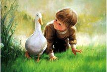 """Donald Zolan © Copyright ® Pinturas de la Inocente niñez / Él dice: """"Me encanta los niños pequeños, la forma en que sus ojos se iluminan con entusiasmo, ya que despiertan al mundo que les rodea. Es un momento maravilloso de la vida, llena de asombro. Un momento en que cada nuevo descubrimiento es otro momento mágico """". Este amor y la alegría se refleja en sus obras. Un tema tan cerca de su corazón y su increíble talento, alimentado a través de la formación técnica y años de experiencia, hacen los cuadros de Zolan los más populares en el mundo.  / by Como Pompas de Jabón"""