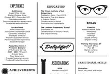 Resume Projects to Try / Here are some highly creative resumes but these are certainly not for every job applicant! We can help you with a more standard resume or even a creative one like shown on this board.