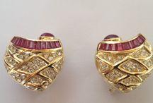 Rubi / brinco coracao rubi e diamantes em ouro 18k