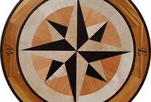 Leddy 48in hardwood floor medallion / Leddy 48in hardwood floor medallion compass rose  www.rosefarminlays.com