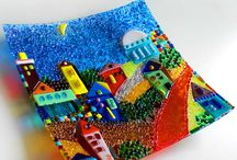 Fused glass painting
