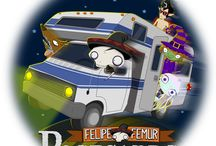 Postcard Adventures / Felipe Femur the skeleton is on an RV road trip with his monster friend... and down-to-earth, average Joe, Joe Miller. They're searching for aliens. Join along and read the postcards Felipe sends. #UFO #Travel #Reading #kids