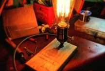 Table lamp / My first lamp made with recycled wood, old style wires and other cool stuff