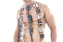 """Tie Me Up! / Living on the edge! Organic meets Industrial! Artisan designed tie of spathe and stainless steel. Inimitable, quality art to wear. Approx 18"""" long with 20"""" adjustable chain."""