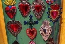 Sagrado coração // Milagro // Corazón Santo / Artesanato mexicano. Amuleto de proteção divina.