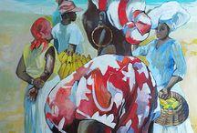 Caribbean art / The vibrant colours and interpretation of life are brilliant a!