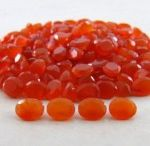 11x9mm Oval Natural Carnelian Faceted Cut Orange Color Loose Gemstone
