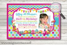 Shopkins Invitation Birthday Set! / Here's an adorable Shopkins birthday invitation design that is perfect for your upcoming Shopkins birthday party! Check out all of the darling Shopkins so cleverly placed in this precious invitation.