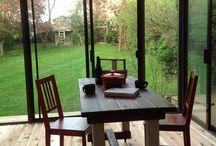 sunroom ideas / This small sunroom has cedar flooring, and translucent roof system.