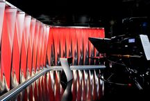 """Ambient Twist"". Studio for the Austrian Broadcaster ORF / Employing conventional materials in unconventional ways, Veech x Veech delivered a visually high-impact TV studio in a tight time frame by innovatively using light to sculpt the space, creating a dramatic on-screen brand."