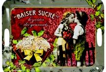 Colección Baiser Sucré / Preciosa colección estilo vintage, preciosos azucareros, bandejas, bolsas, posavasos, servilleteros y tazas.  www.cositasdeines.com