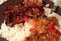 food easy  / Rice , ribs and sweet pepper sauce . enjoyyyy !!! easy to cook and So good. Use a litt le beat sugar for ribs