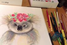 MintFairy  whimsical animal floral illustration - originals and prints for sale - Www.Etsy.Com/shop/mintfairy