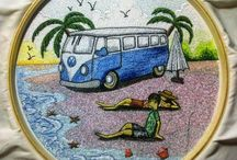 Volkswagen / Volkswagen embroidery painting for wall decoration.