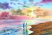 Sunset paintings / Sunset beach and landscape paintings.