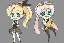 Steampunk Alice in Wonderland chibi set