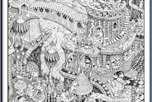 Detailed black and white drawings