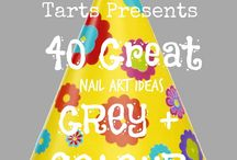 Crumpet Nail Tarts Presents - Grey + Colour / Crumpet Nail Tarts Presents 40 Great Nail Art Ideas #40gnai