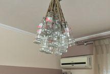 Ceiling fixtures / 24 bottles coca cola,  20m rope burlap , 3 lamps hue Philips !